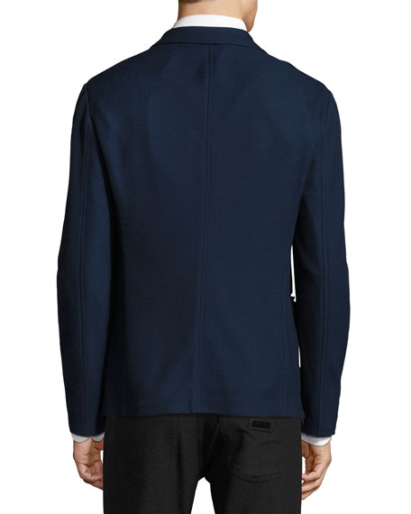 Pique Knit Soft Jacket, Navy