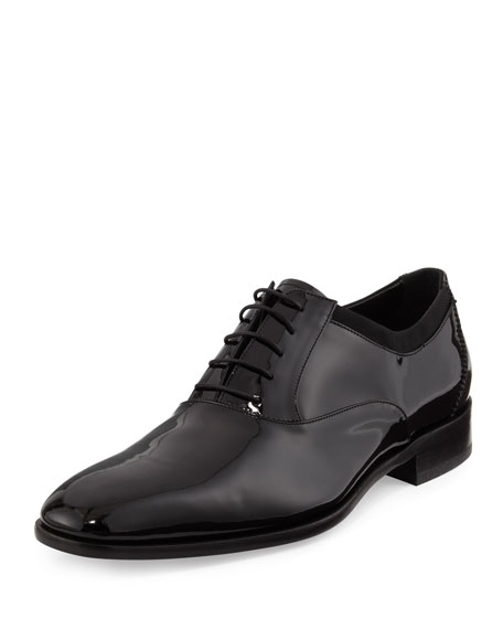 Salvatore Ferragamo Patent Lace-Up Oxford, Black