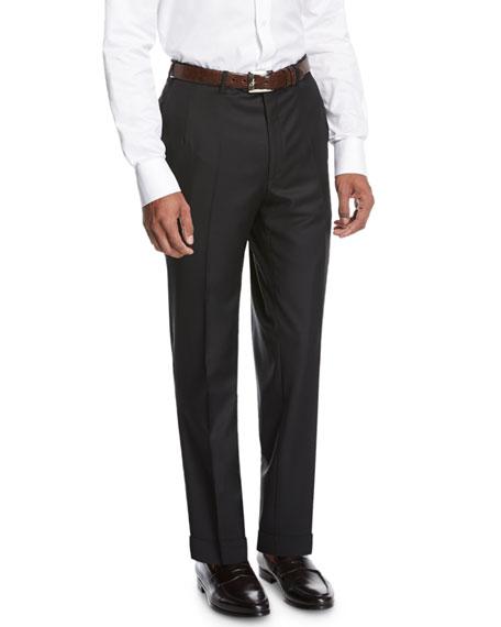 Brioni Wool Flat-Front Trousers, Black