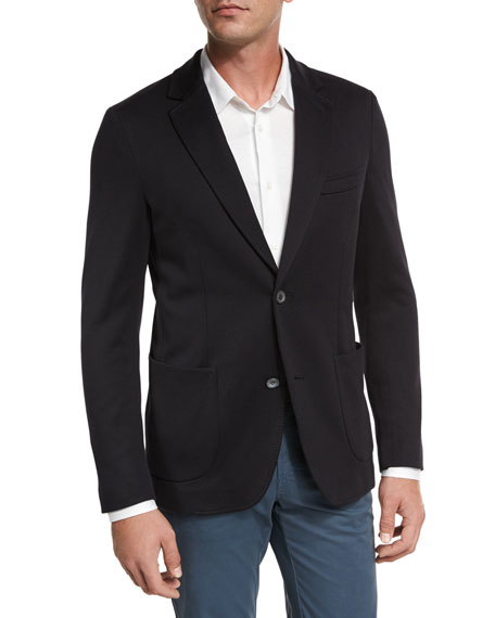 Silk-Cotton Knit Blazer, Navy