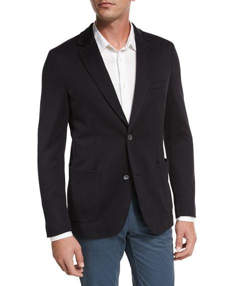 Silk-Cotton Knit Blazer, Navy