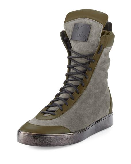 Giuseppe Zanotti x Zayn Suede Boxing High-Top Sneaker,