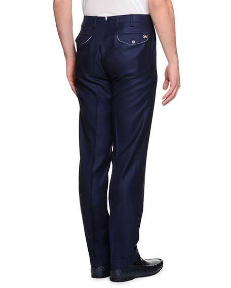 Cashmere Flat-Front Dress Pants, Navy