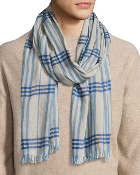 Begg & Co Cottlea Men's Plaid Cotton-Linen Scarf,