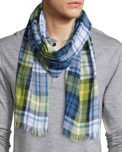 Cottlea Plaid Cotton-Linen Scarf, Blue/Green/Yellow/White