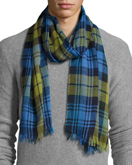 Begg & Co Cottlea Plaid Cotton-Linen Scarf, Blue/Green
