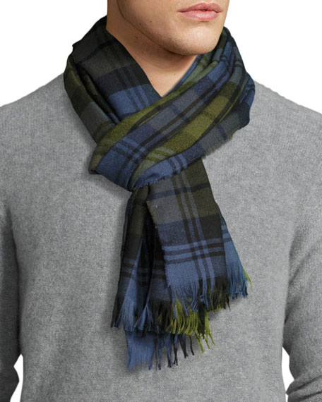 Plaid Cashmere Scarf, Blue/Green