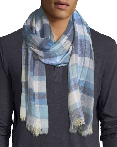 Cottlea Plaid Cotton-Linen Scarf
