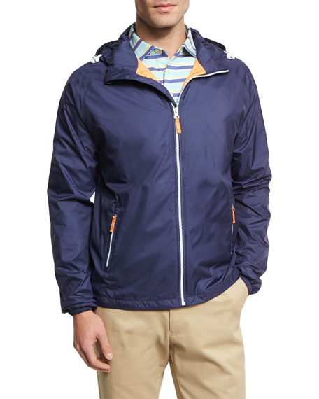 Seaside Wind-Resistant Zip-Front Jacket, Perfect Navy