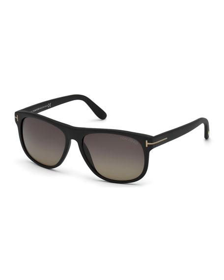 TOM FORD Olivier Polarized Soft Square Sunglasses, Black