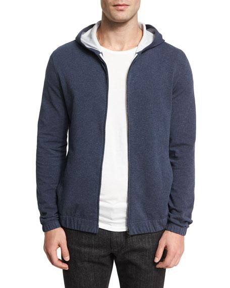 Loro Piana Cotton Fleece Hoodie Sweatshirt, Indigo