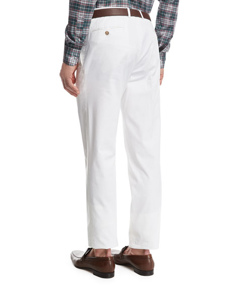 Stretch-Cotton Flat-Front Pants, White