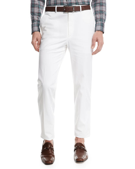 Stretch-Cotton Flat-Front Pants, White
