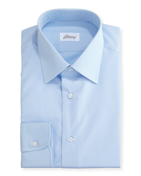 Brioni Wardrobe Essential Solid Dress Shirt, Blue