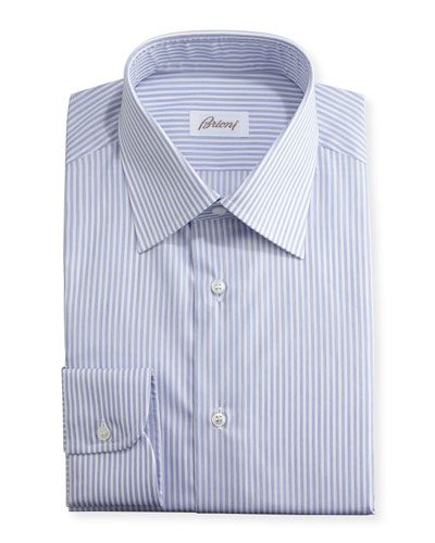 Brioni Dress Shirts : Stripe & Twill Dress Shirt at Neiman Marcus