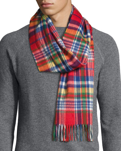 Langley Plaid Lambswool-Angora Scarf, Reeve Red
