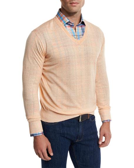 Lightweight Wool-Linen V-Neck Sweater