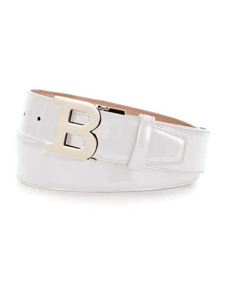 Bally Patent Leather B-Buckle Belt, White and Matching