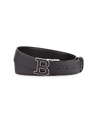 Enamel B Buckle Reversible Leather Belt, Black