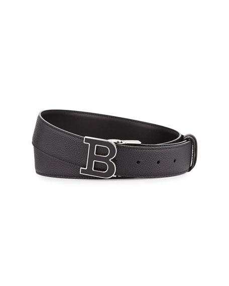 Bally Enamel B Buckle Reversible Leather Belt, Black