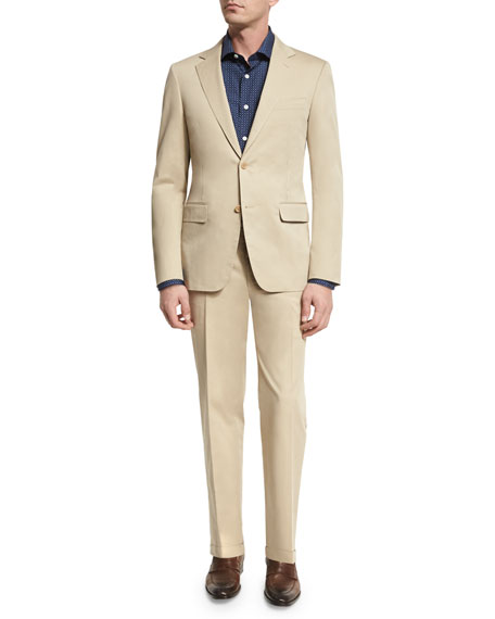 Canali Solid Stretch-Cotton Two-Piece Suit, Khaki