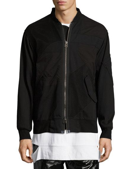 Patchwork Bomber Jacket, Black