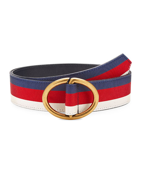 Gucci Men's Web Belt with Gold Buckle
