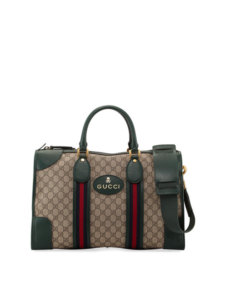 Gucci Courier Soft GG Supreme Duffle Bag, Beige/Brown/Green