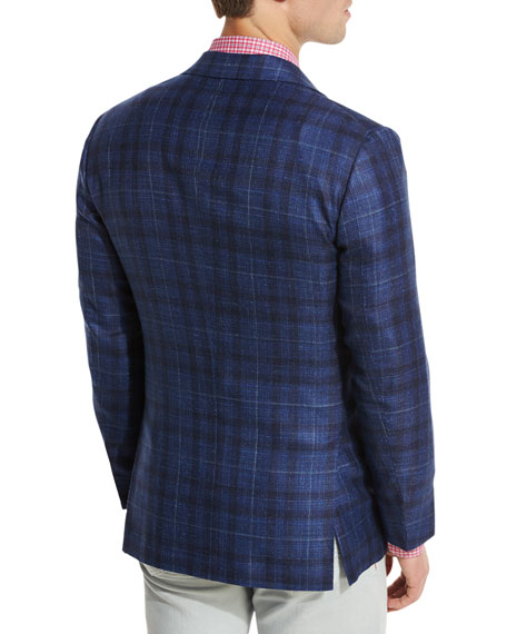 Exploded Plaid Three-Button Sport Coat, Navy