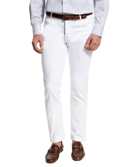Kiton Twill Five-Pocket Pants, White