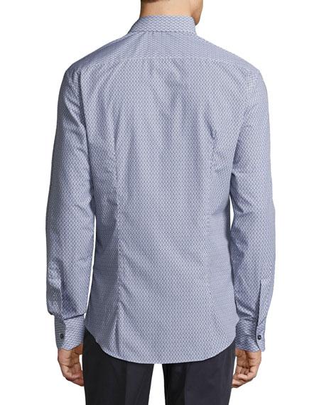 Men's Mini-Gancini Long-Sleeve Cotton Shirt, Darkest Navy/White