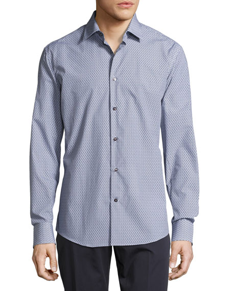 Salvatore Ferragamo Mini-Gancini Long-Sleeve Cotton Shirt,
