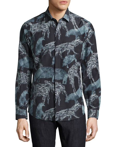 Safari Animals Silk-Cotton Sport Shirt, Black