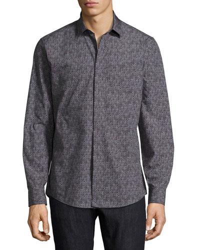 Gancini Tango Cotton Sport Shirt, Black