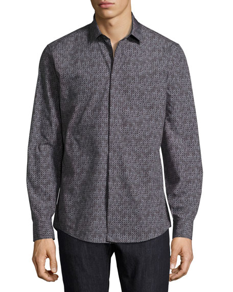 Salvatore Ferragamo Gancini Tango Cotton Sport Shirt, Black