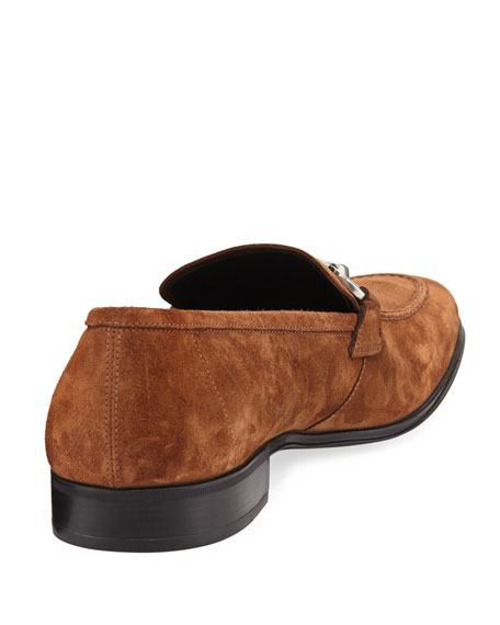 Men's Suede Gancini Loafer, Brown