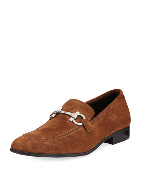 Salvatore Ferragamo Men's Suede Gancini Loafer, Brown