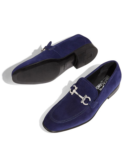 Suede Gancini Loafer, Ultra Blue