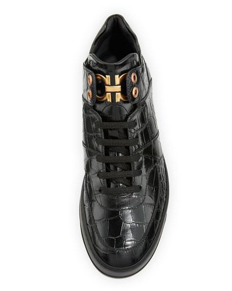 Men's Croc-Embossed Leather Mid-Top Sneaker, Black