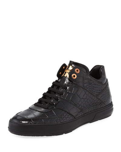 Monroe Men's Croc-Embossed Leather Mid-Top Sneaker, Black
