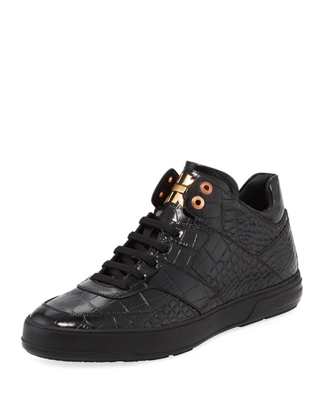 Salvatore Ferragamo Men's Croc-Embossed Leather Mid-Top Sneaker,