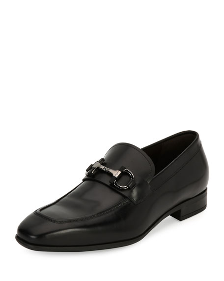 Salvatore Ferragamo Gancini-Bit Leather Loafer, Black and