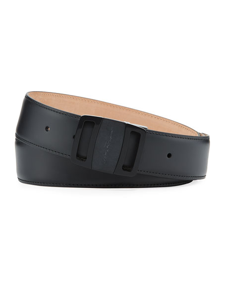 Salvatore Ferragamo Men's Tonal Leather Buckle Belt, Black