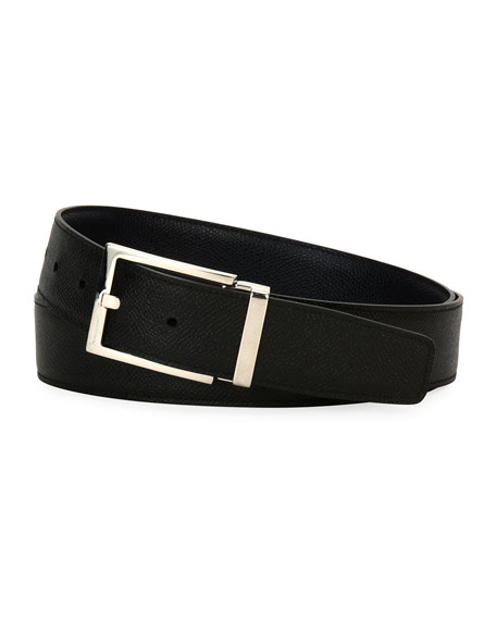Men's Square-Buckle Reversible Leather Belt, Navy