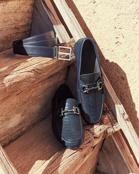 Salvatore Ferragamo Men's Square-Buckle Reversible Leather Belt, Navy