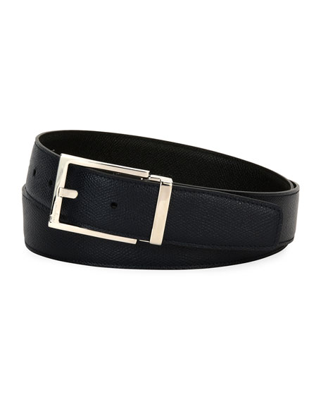 Salvatore Ferragamo Square-Buckle Reversible Leather Belt, Navy
