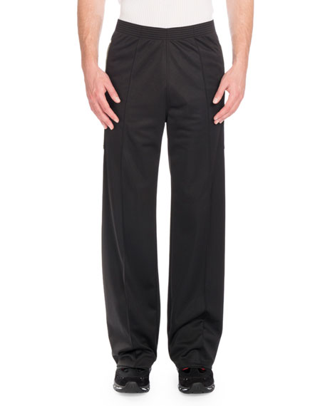 Givenchy Canvas-Patch Wide-Leg Jogger Pants, Black