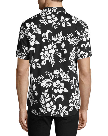 Floral Short-Sleeve Camp Shirt, Black/White