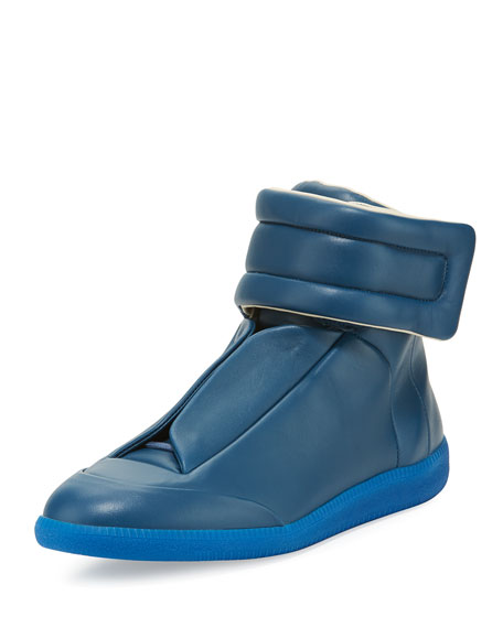 Maison Margiela Future Leather High-Top Sneaker, Blue