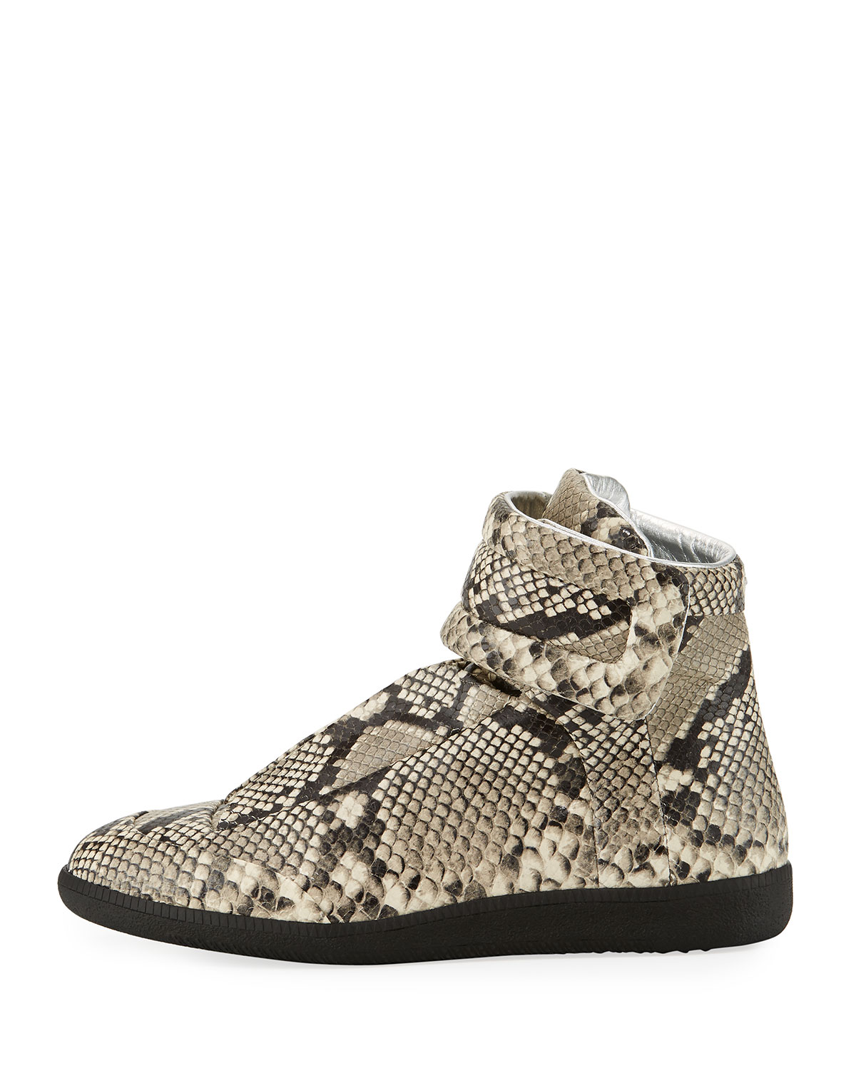 Maison Margiela Men's Future Python-Embossed Leather High-Top Sneaker,  Natural | Neiman Marcus